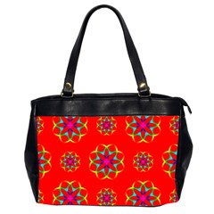 Rainbow Colors Geometric Circles Seamless Pattern On Red Background Office Handbags (2 Sides)