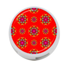 Rainbow Colors Geometric Circles Seamless Pattern On Red Background 4 Port Usb Hub (one Side)
