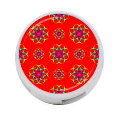 Rainbow Colors Geometric Circles Seamless Pattern On Red Background 4-Port USB Hub (Two Sides)