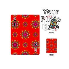 Rainbow Colors Geometric Circles Seamless Pattern On Red Background Playing Cards 54 (mini)