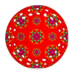 Rainbow Colors Geometric Circles Seamless Pattern On Red Background Ornament (Round Filigree)