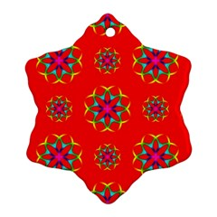 Rainbow Colors Geometric Circles Seamless Pattern On Red Background Snowflake Ornament (two Sides)