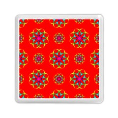 Rainbow Colors Geometric Circles Seamless Pattern On Red Background Memory Card Reader (square)