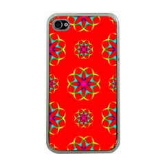 Rainbow Colors Geometric Circles Seamless Pattern On Red Background Apple iPhone 4 Case (Clear)