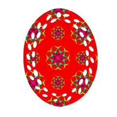 Rainbow Colors Geometric Circles Seamless Pattern On Red Background Ornament (oval Filigree)