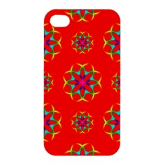 Rainbow Colors Geometric Circles Seamless Pattern On Red Background Apple Iphone 4/4s Premium Hardshell Case