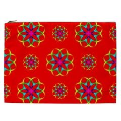 Rainbow Colors Geometric Circles Seamless Pattern On Red Background Cosmetic Bag (xxl)
