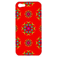 Rainbow Colors Geometric Circles Seamless Pattern On Red Background Apple Iphone 5 Hardshell Case