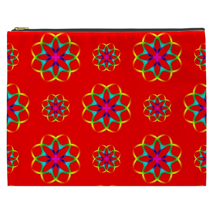 Rainbow Colors Geometric Circles Seamless Pattern On Red Background Cosmetic Bag (XXXL)