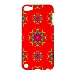 Rainbow Colors Geometric Circles Seamless Pattern On Red Background Apple Ipod Touch 5 Hardshell Case