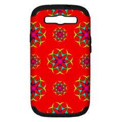 Rainbow Colors Geometric Circles Seamless Pattern On Red Background Samsung Galaxy S III Hardshell Case (PC+Silicone)