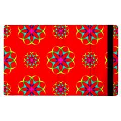 Rainbow Colors Geometric Circles Seamless Pattern On Red Background Apple iPad 2 Flip Case