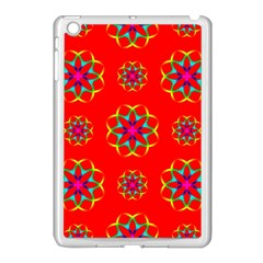 Rainbow Colors Geometric Circles Seamless Pattern On Red Background Apple Ipad Mini Case (white)