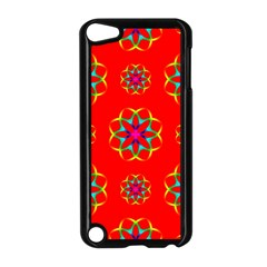 Rainbow Colors Geometric Circles Seamless Pattern On Red Background Apple iPod Touch 5 Case (Black)