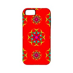 Rainbow Colors Geometric Circles Seamless Pattern On Red Background Apple iPhone 5 Classic Hardshell Case (PC+Silicone)