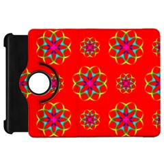 Rainbow Colors Geometric Circles Seamless Pattern On Red Background Kindle Fire Hd 7