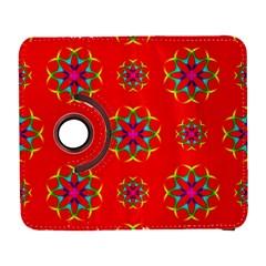 Rainbow Colors Geometric Circles Seamless Pattern On Red Background Galaxy S3 (flip/folio)