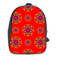 Rainbow Colors Geometric Circles Seamless Pattern On Red Background School Bags (xl)