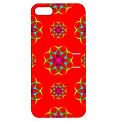 Rainbow Colors Geometric Circles Seamless Pattern On Red Background Apple iPhone 5 Hardshell Case with Stand