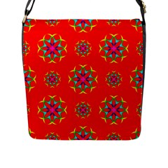 Rainbow Colors Geometric Circles Seamless Pattern On Red Background Flap Messenger Bag (l)