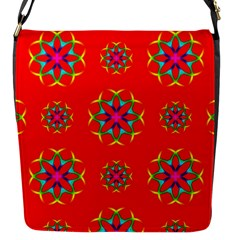 Rainbow Colors Geometric Circles Seamless Pattern On Red Background Flap Messenger Bag (S)