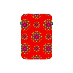 Rainbow Colors Geometric Circles Seamless Pattern On Red Background Apple iPad Mini Protective Soft Cases