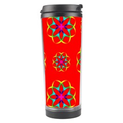 Rainbow Colors Geometric Circles Seamless Pattern On Red Background Travel Tumbler