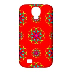 Rainbow Colors Geometric Circles Seamless Pattern On Red Background Samsung Galaxy S4 Classic Hardshell Case (pc+silicone)