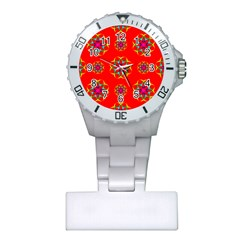 Rainbow Colors Geometric Circles Seamless Pattern On Red Background Plastic Nurses Watch