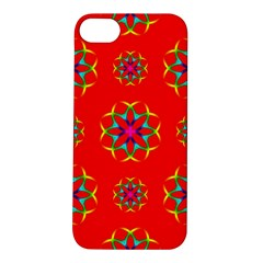 Rainbow Colors Geometric Circles Seamless Pattern On Red Background Apple iPhone 5S/ SE Hardshell Case