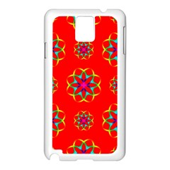 Rainbow Colors Geometric Circles Seamless Pattern On Red Background Samsung Galaxy Note 3 N9005 Case (White)