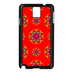 Rainbow Colors Geometric Circles Seamless Pattern On Red Background Samsung Galaxy Note 3 N9005 Case (Black)