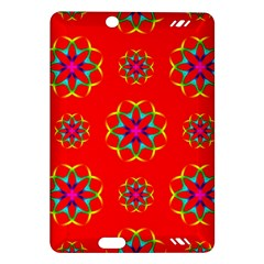 Rainbow Colors Geometric Circles Seamless Pattern On Red Background Amazon Kindle Fire HD (2013) Hardshell Case