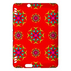 Rainbow Colors Geometric Circles Seamless Pattern On Red Background Kindle Fire Hdx Hardshell Case
