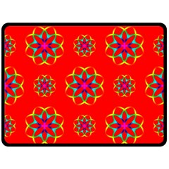 Rainbow Colors Geometric Circles Seamless Pattern On Red Background Double Sided Fleece Blanket (large)