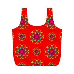 Rainbow Colors Geometric Circles Seamless Pattern On Red Background Full Print Recycle Bags (M)