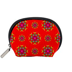 Rainbow Colors Geometric Circles Seamless Pattern On Red Background Accessory Pouches (small)