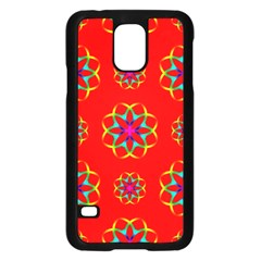 Rainbow Colors Geometric Circles Seamless Pattern On Red Background Samsung Galaxy S5 Case (black)