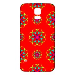 Rainbow Colors Geometric Circles Seamless Pattern On Red Background Samsung Galaxy S5 Back Case (white)