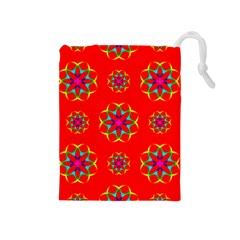 Rainbow Colors Geometric Circles Seamless Pattern On Red Background Drawstring Pouches (medium)