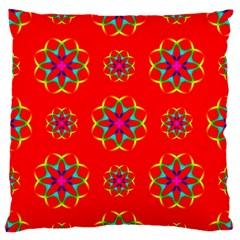 Rainbow Colors Geometric Circles Seamless Pattern On Red Background Large Flano Cushion Case (two Sides)