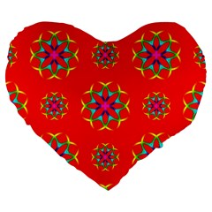 Rainbow Colors Geometric Circles Seamless Pattern On Red Background Large 19  Premium Flano Heart Shape Cushions