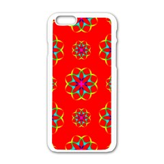 Rainbow Colors Geometric Circles Seamless Pattern On Red Background Apple Iphone 6/6s White Enamel Case
