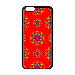 Rainbow Colors Geometric Circles Seamless Pattern On Red Background Apple Iphone 6/6s Black Enamel Case
