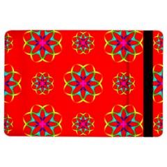 Rainbow Colors Geometric Circles Seamless Pattern On Red Background Ipad Air 2 Flip