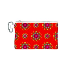 Rainbow Colors Geometric Circles Seamless Pattern On Red Background Canvas Cosmetic Bag (s)