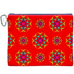 Rainbow Colors Geometric Circles Seamless Pattern On Red Background Canvas Cosmetic Bag (XXXL)