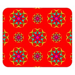 Rainbow Colors Geometric Circles Seamless Pattern On Red Background Double Sided Flano Blanket (Small)