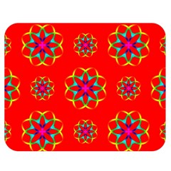 Rainbow Colors Geometric Circles Seamless Pattern On Red Background Double Sided Flano Blanket (Medium)