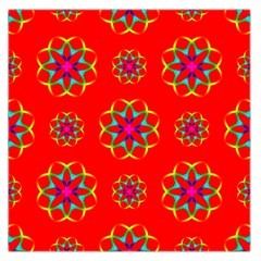 Rainbow Colors Geometric Circles Seamless Pattern On Red Background Large Satin Scarf (square)